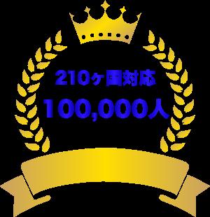 210ヶ国対応・100,000人